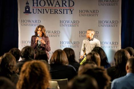 Michelle Obama at Howard with Bow Wow